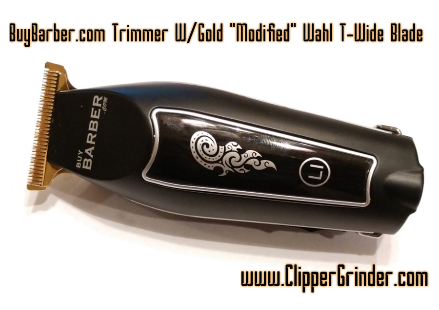 "Image of (3-4 Week Delivery) BuyBarber Cordless Trimmer W/Gold ""Modified"" Wahl T-WIDE Blade"