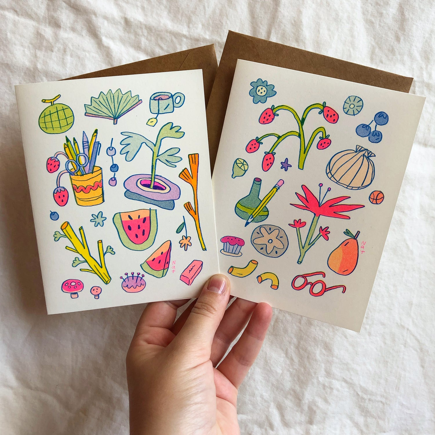 Watermelon and Seashell Greeting Cards (Set of 2)