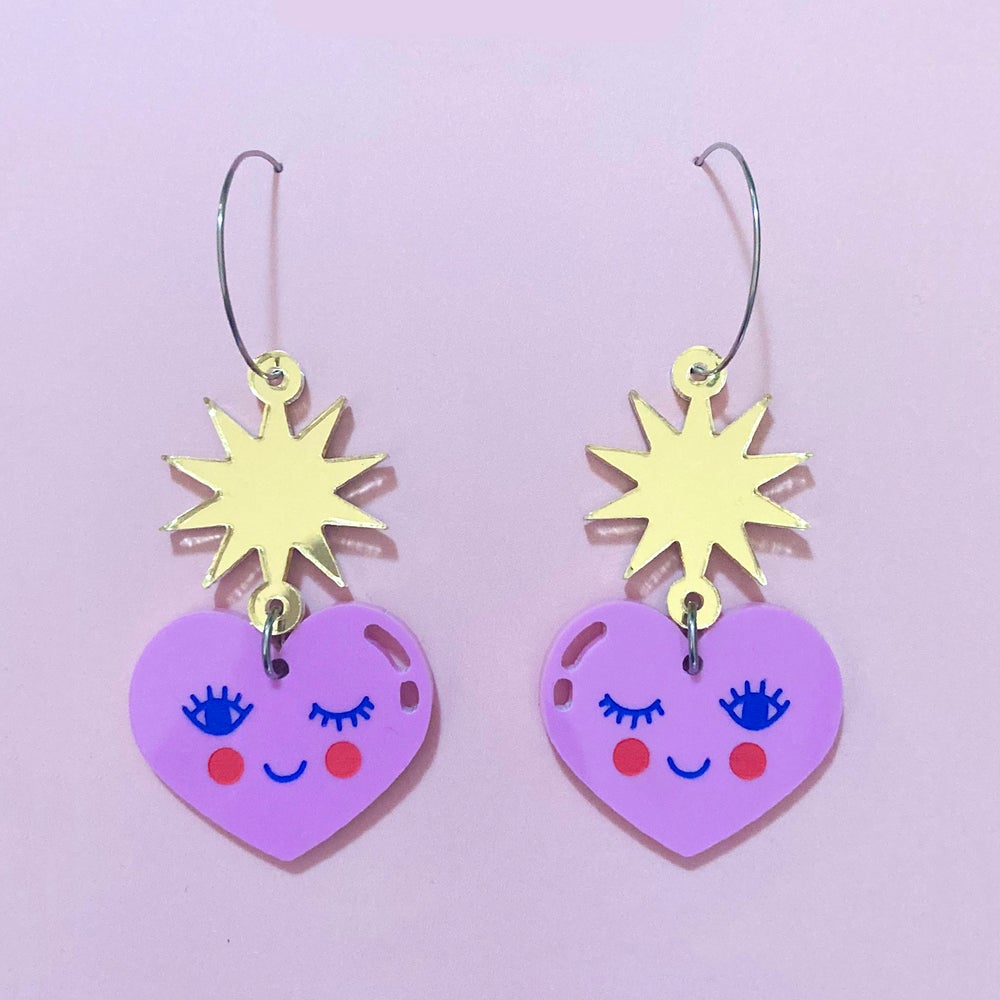 Image of Happy Hearts Hoops (Lilac/Gold)