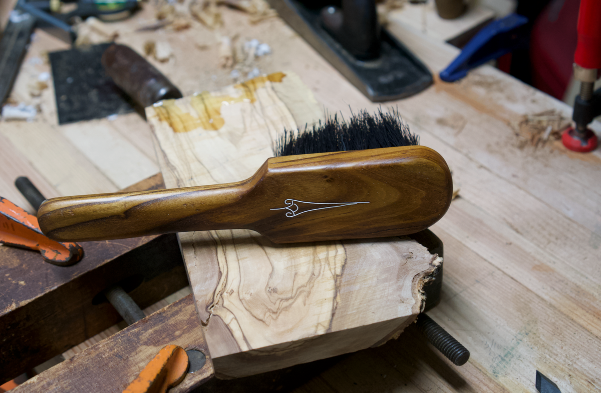 Image of Olivewood & Silver Heirloom Teue Bench Brush #002
