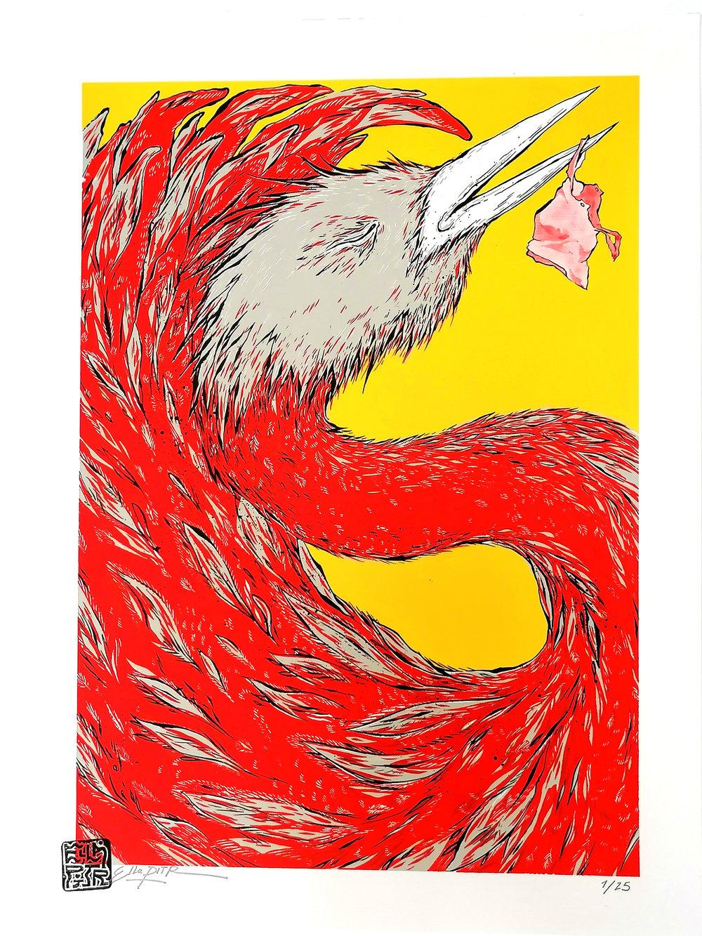 """Image of """"Oiseaux de printemps"""", jaune. Sérigraphie 4 couleurs, 48 x 36 cm."""