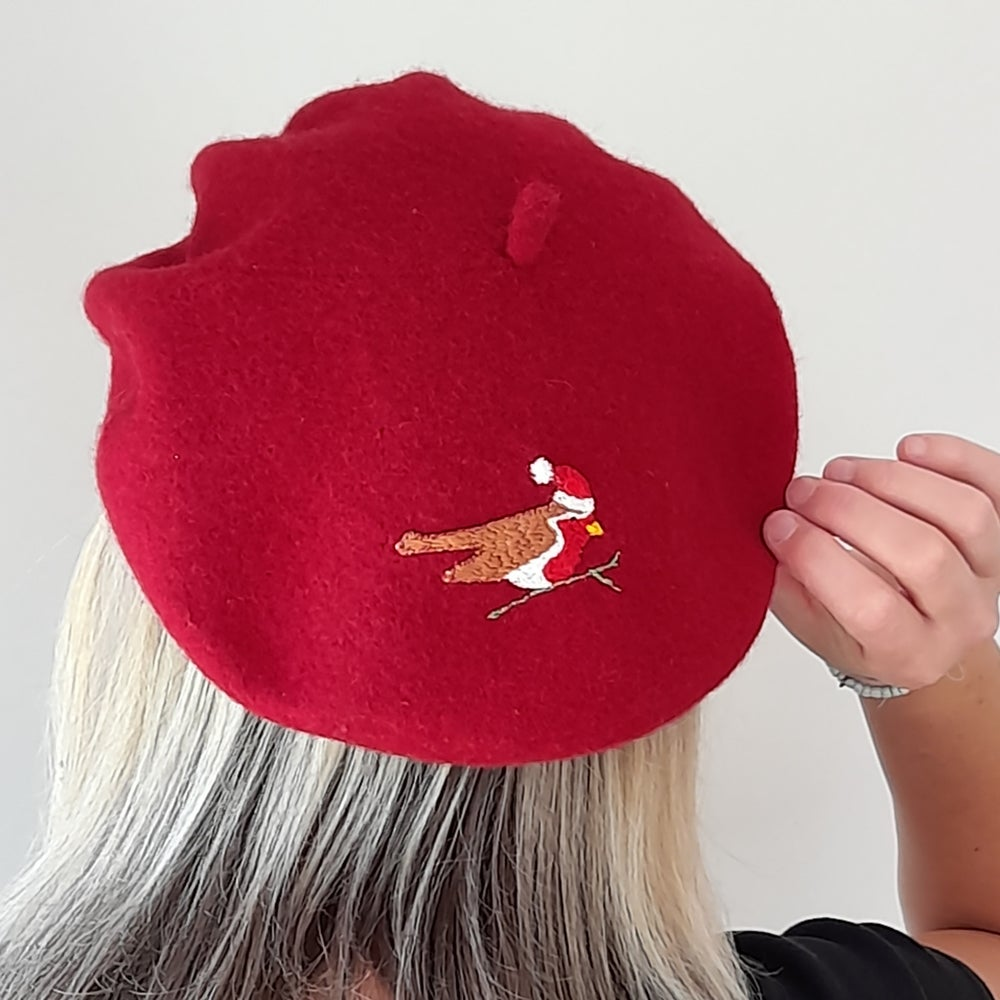 Image of Robin Hand Embroidered Beret