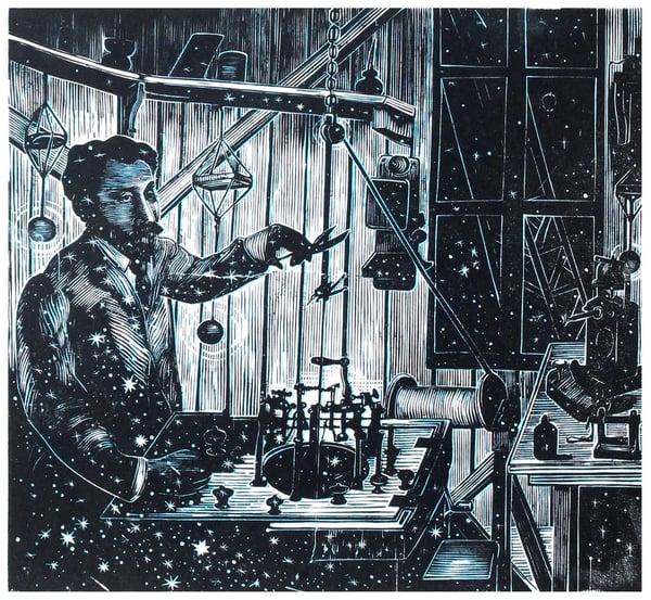 "Image of ""Lo Studio di Eiffel"", linocut, monotype"