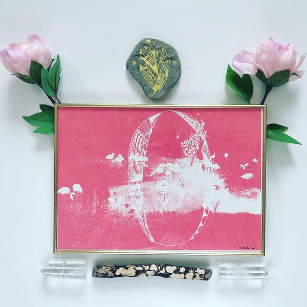 Image of Pink Flamingo Magical Door_A4