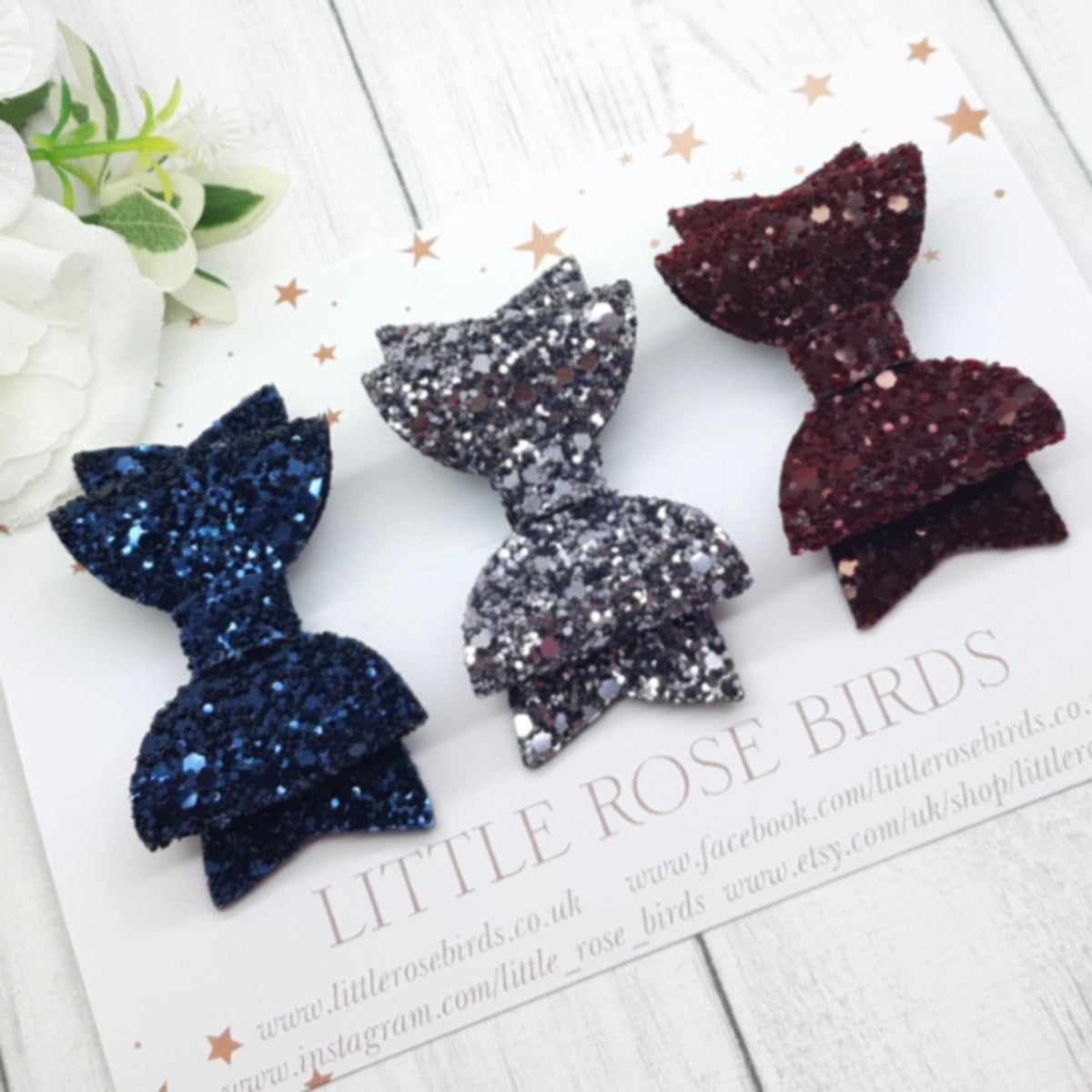 Image of SET OF 3 Midnight Glitter Bows