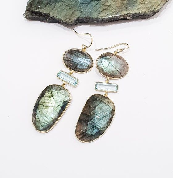 Image of Labradorite and Topaz Statement Earrings
