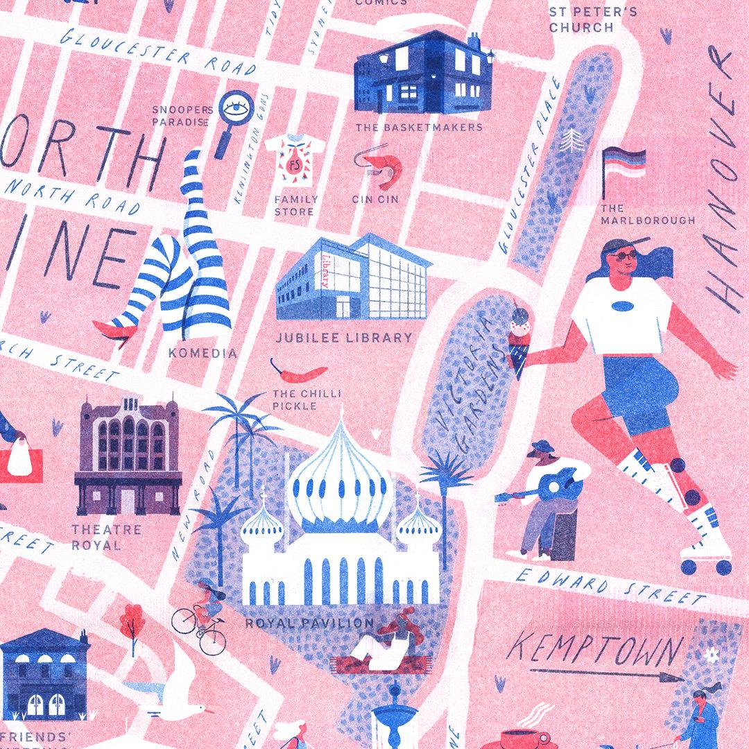 Image of Brighton Map riso print