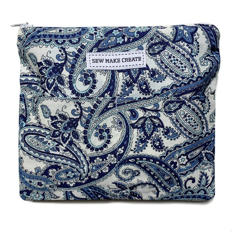Image of Fabric Mask Bag (Blue Paisley)