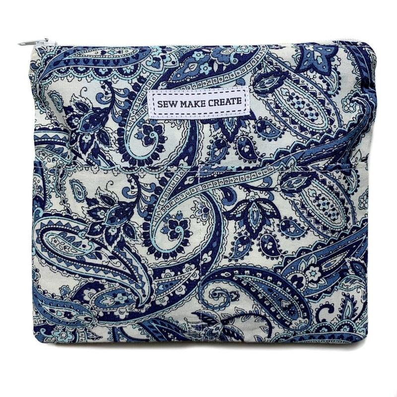 Image of Fabric Mask Bag (Blue Paisley)