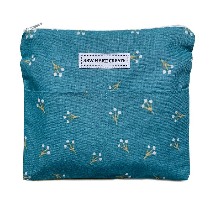 Image of Fabric Mask Bag (Teal Buds)