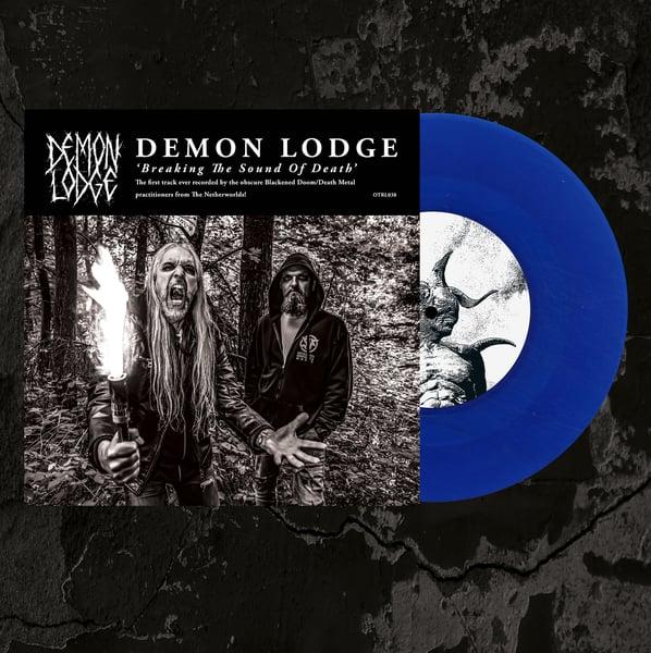 "Image of DEMON LODGE/THE MONOLITH DEATHCULT - Split 7"" Single. Transparent Blue Vinyl."