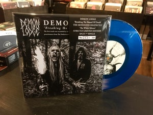 "Image of DEMON LODGE/THE MONOLITH DEATHCULT - Split 7"" Single. Transparent Blue Vinyl."