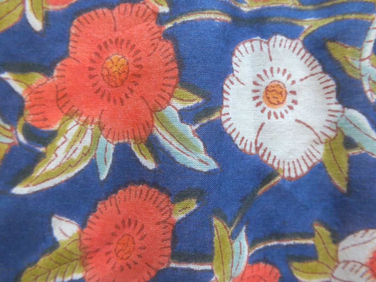 Image of Namasté fabric bleu roi coquelicots