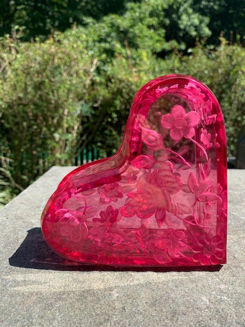 Image of Heart Shaped Lucite Boxes (Three Colors)