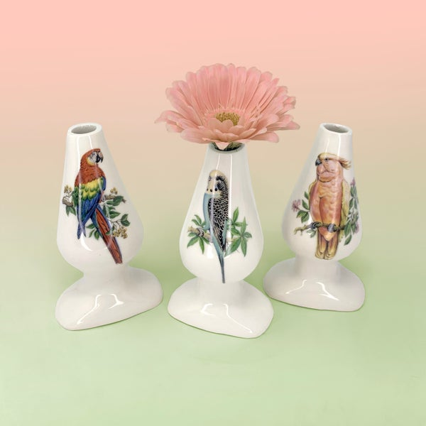 Image of Butt Plug Stem Vases - Tropical Birds