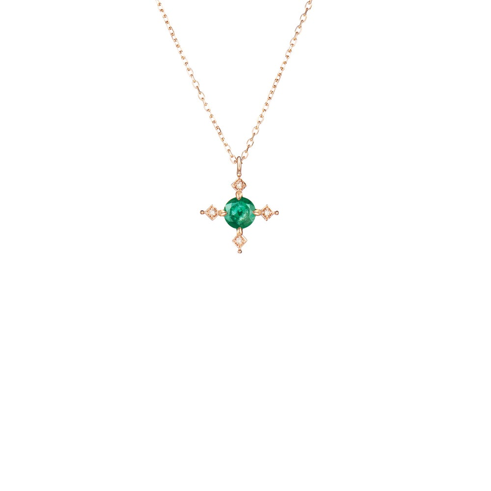 Image of Ella Cross Emerald Necklace
