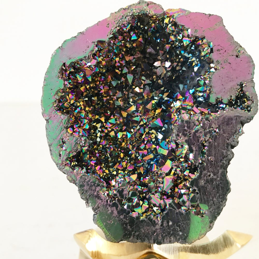 Image of Titanium Coated Calcite no.55 + Brass Claw Stand