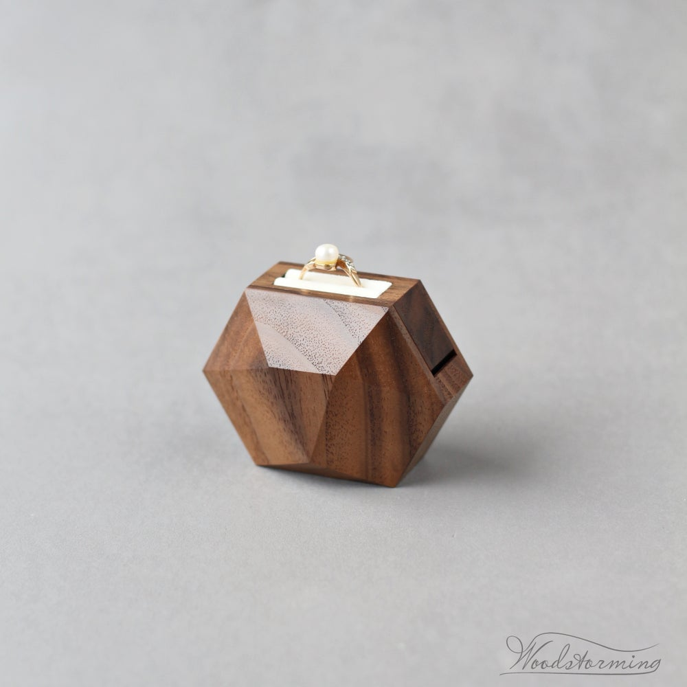 Image of Unique rotating wooden ring box - small ring display box by Woodstorming