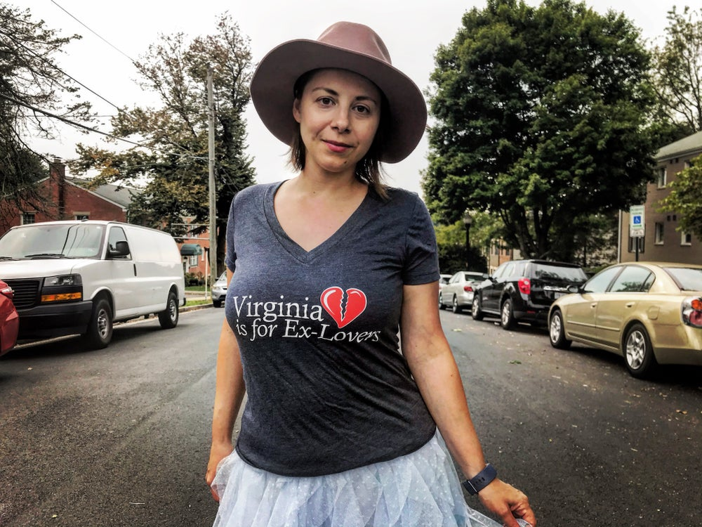 Image of Virginia is for Ex-Lovers V-Neck Charcoal T-Shirt