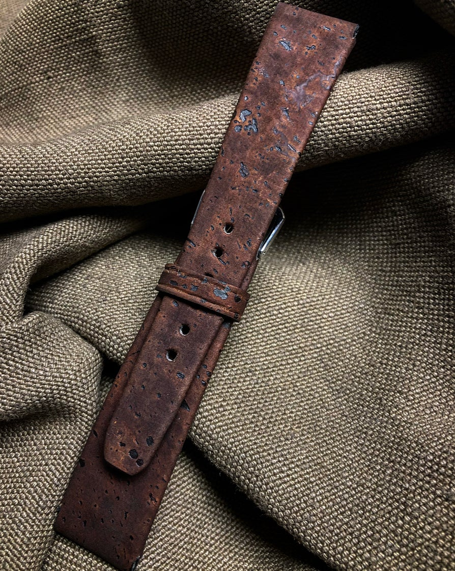 "Image of Brown ""Meteorite"" Cork & Chèvre Hand-Rolled Rembordé watch strap"