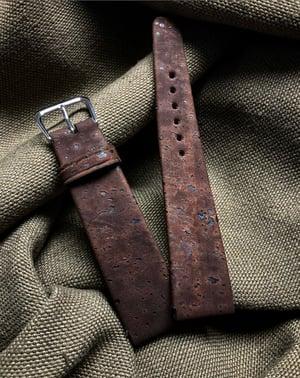 """Image of Brown """"Meteorite"""" Cork & Chèvre Hand-Rolled Rembordé watch strap"""