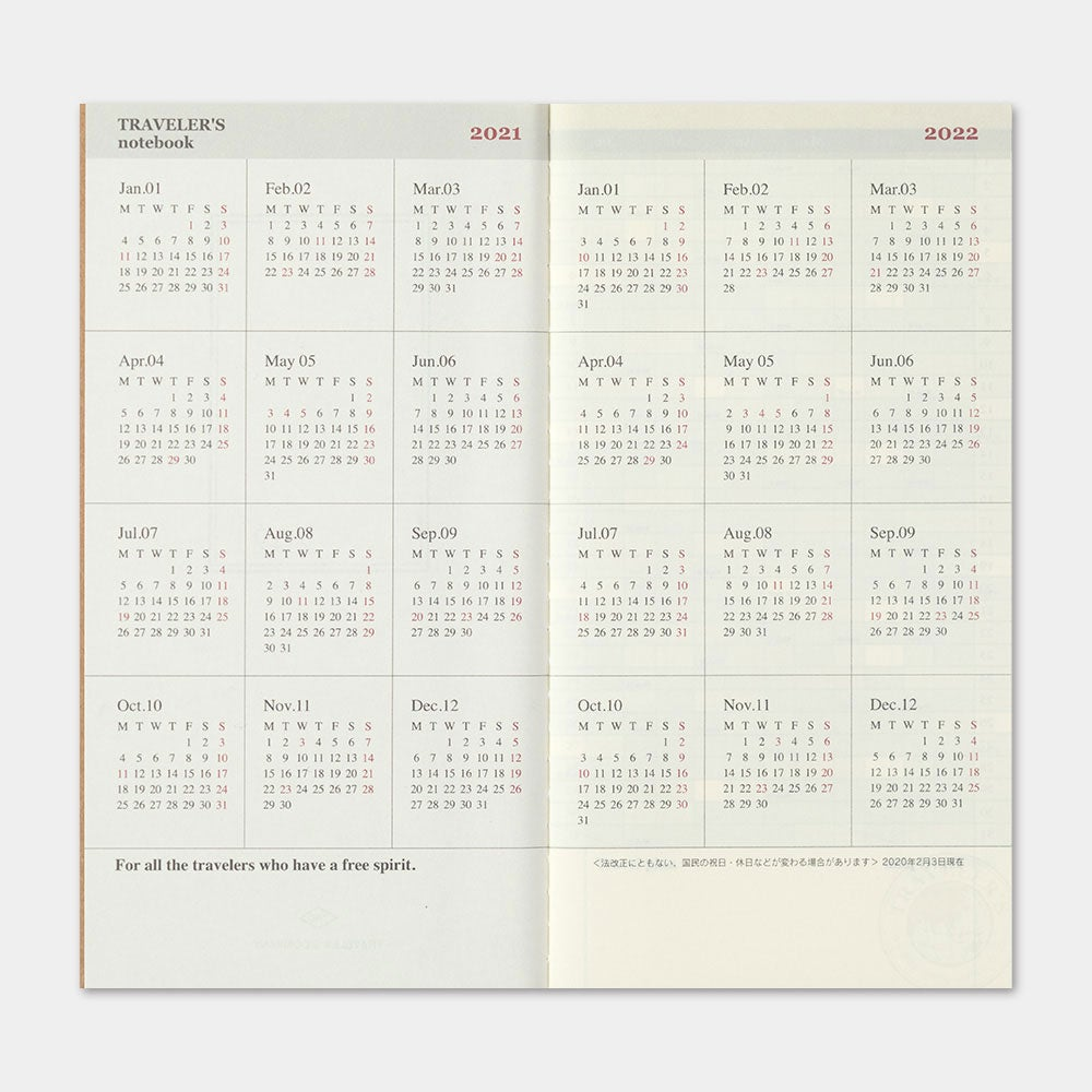 Image of Traveler's Company 2021 Regular Monthly Diary