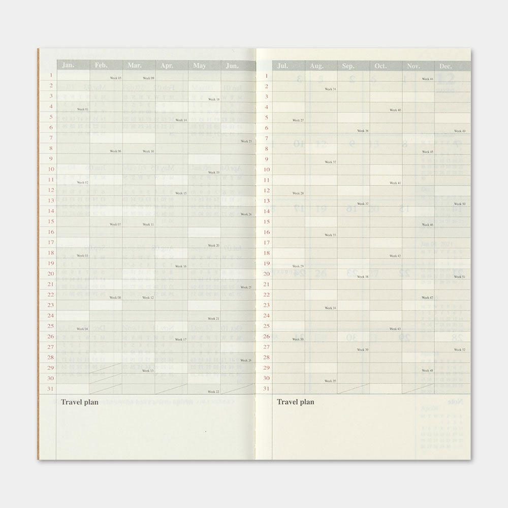 Image of Traveler's Company 2021 Regular Monthly Diary (PRE-ORDER Ships 9/30)