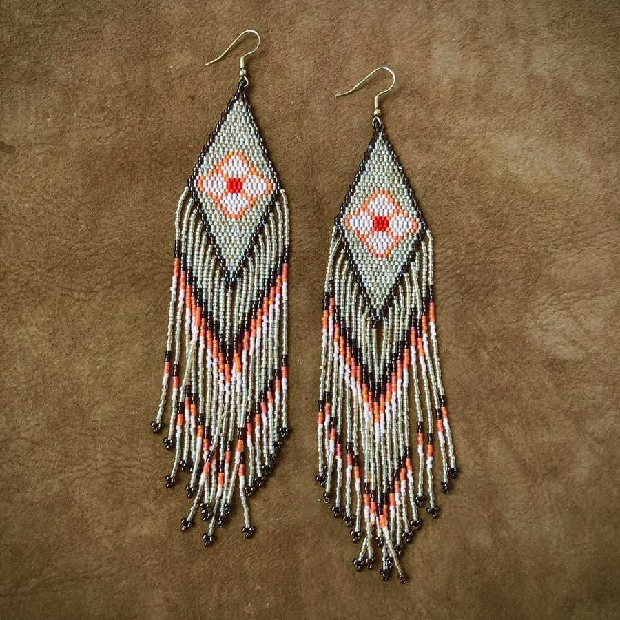 Image of Floral Glisten Fringe Earrings (Sorbet)