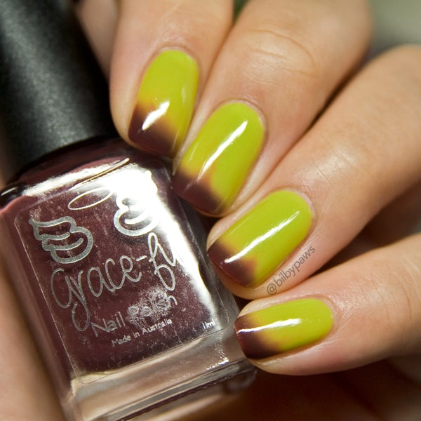Image of 'Appily Ever After – thermal brown/deep red cold, and a chartreuse green warm