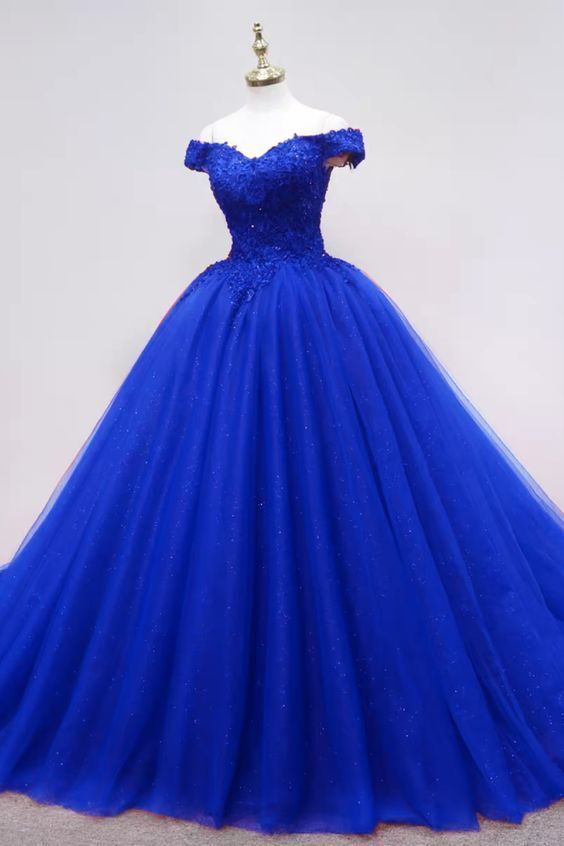Beautiful Royal Blue Tulle Sweetheart Long Party Dress, Blue Sweet 16 Gown