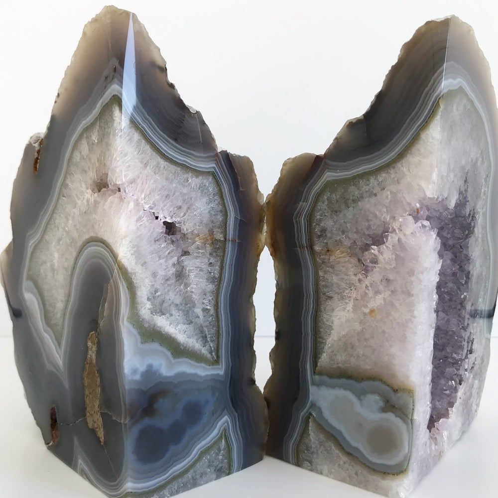 Image of AGATE/QUARTZ BOOKENDS NO.12