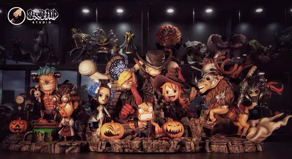 Image of [Last-Stock]One Piece Show Hand Studio Strawhat Crew Set Halloween Ver Resin Statue