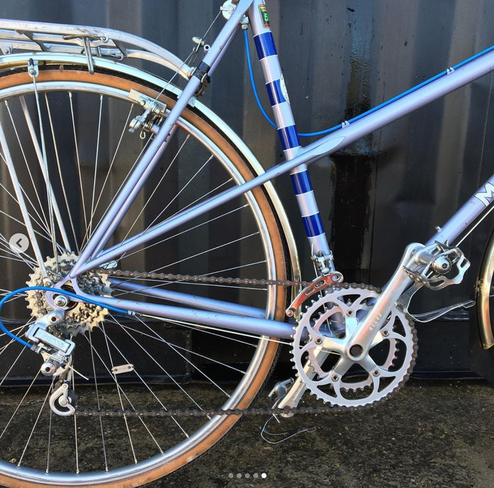 Image of M. Steel  56cm hand built lightweight  Mixte of very fine quality.