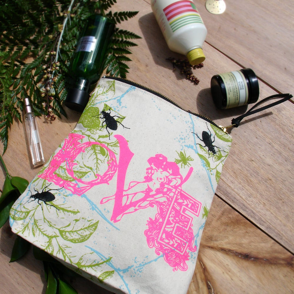 Image of Love Print Natural Canvas Wash Bag