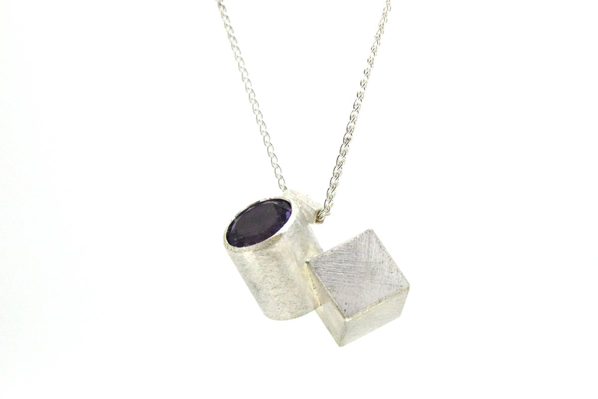 Sterling silver geometric pendant, intersecting cube and cylinder set with Amethyst