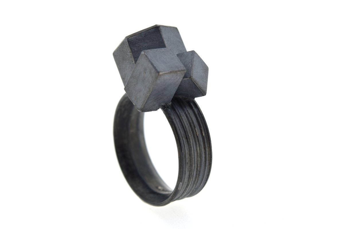 Amethyst cube cluster ring. Oxidised silver ring. Chris Boland Jewellery