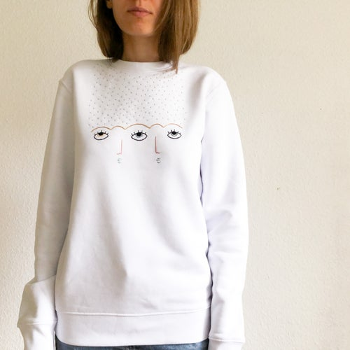 Image of Rain on us sweatshirt - hand embroidered organic cotton sweatshirt, Unisex, available in ALL sizes