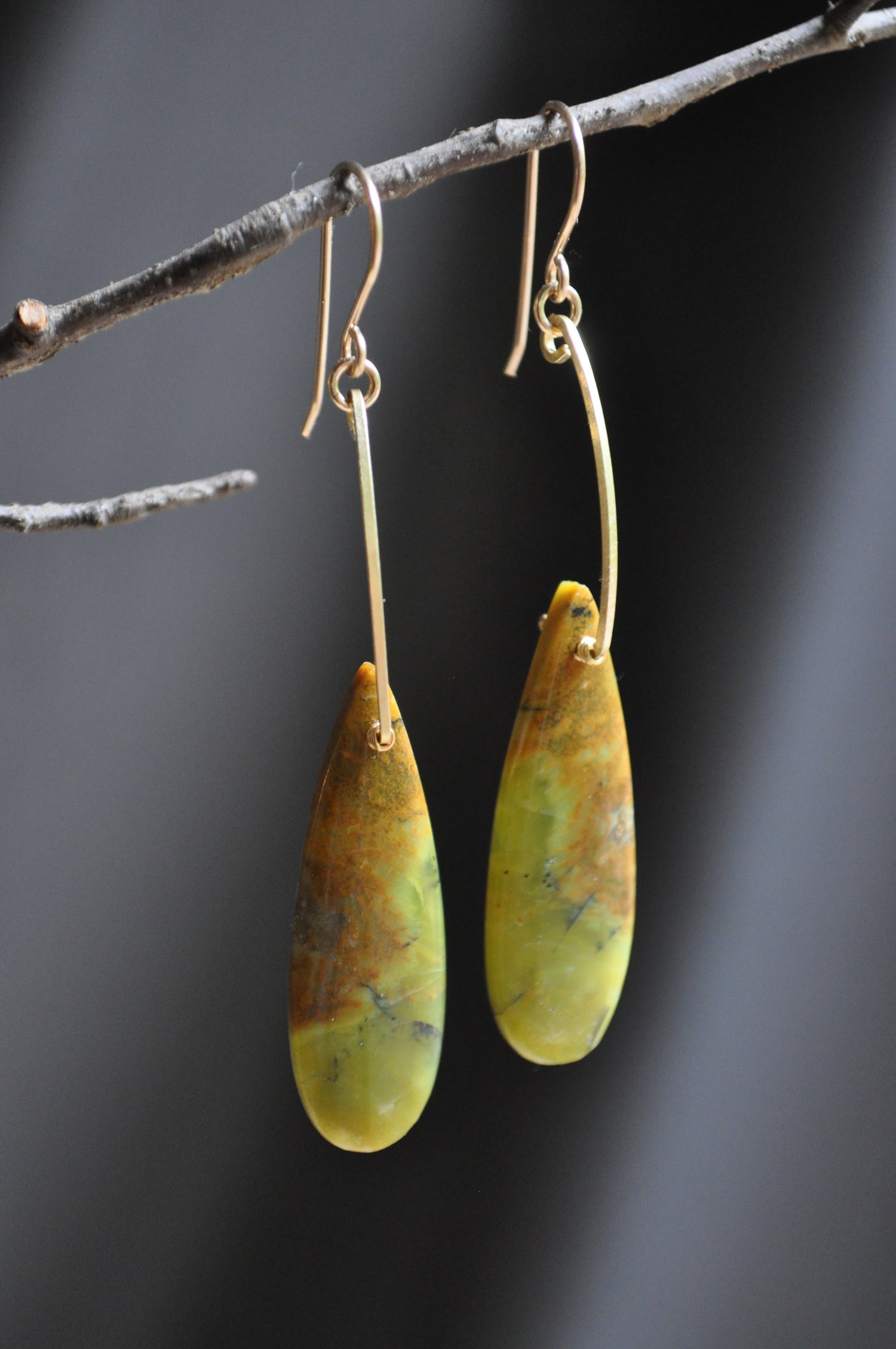 Image of One of a Kind Yellow Opal Teardrop Dangles