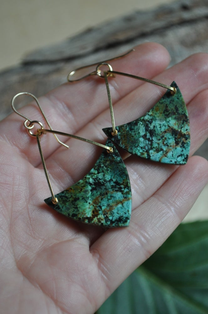 Image of One of a Kind African Turquoise Triangle Dangles (Item #A2)