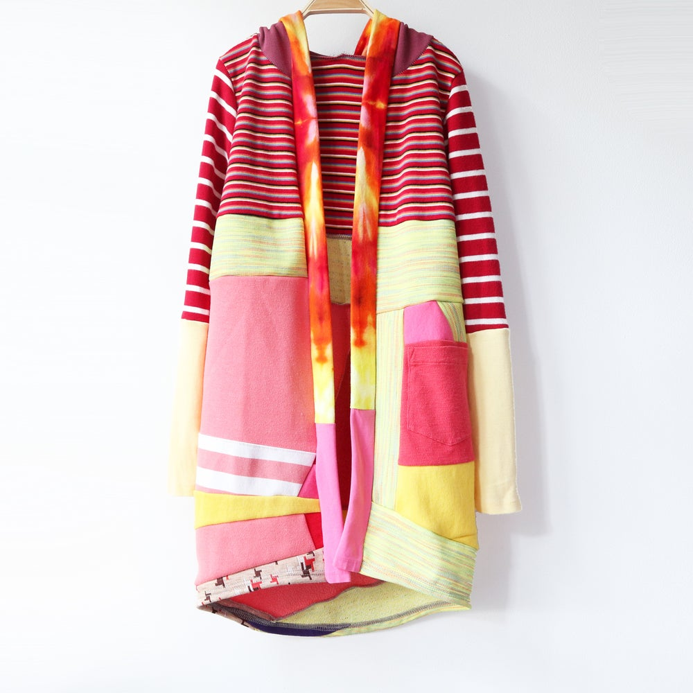Image of red stripe tiedye yellow pink 10/12 vintage fabric COZY CARDIGAN ROBE HOODED HOODIE COURTNEYCOURTNEY
