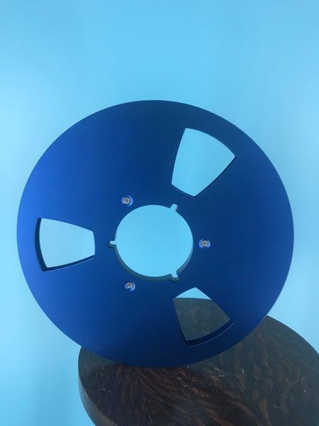 "Image of Burlington Recording 1/4"" x 10.5"" BLUE NAB Aluminum Metal Reel with White Hinged Set up Box NEW"