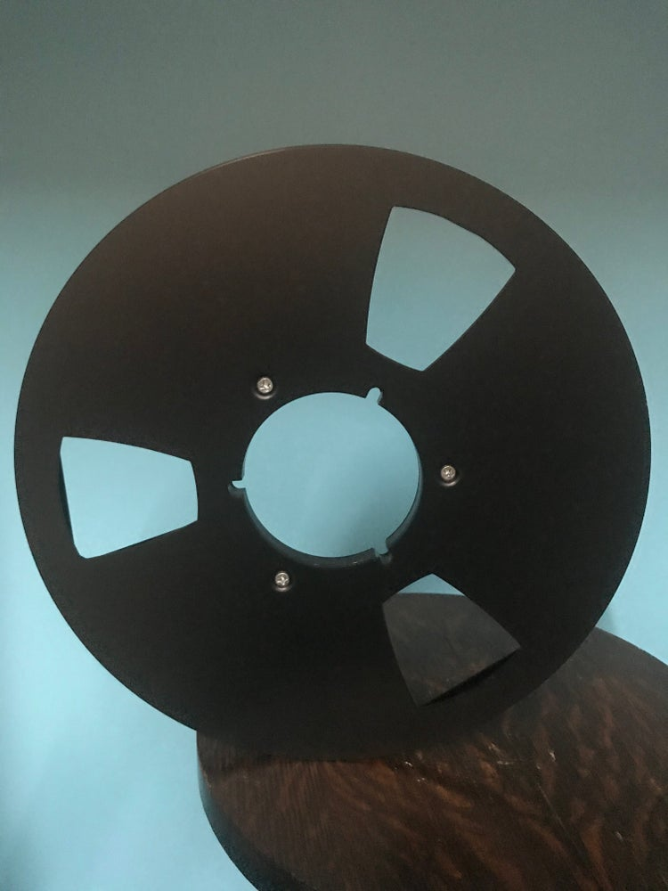"Image of Burlington Recording 1/4"" x 10.5"" BLACK NAB Aluminum Metal Reel with White Hinged Set up Box NEW"