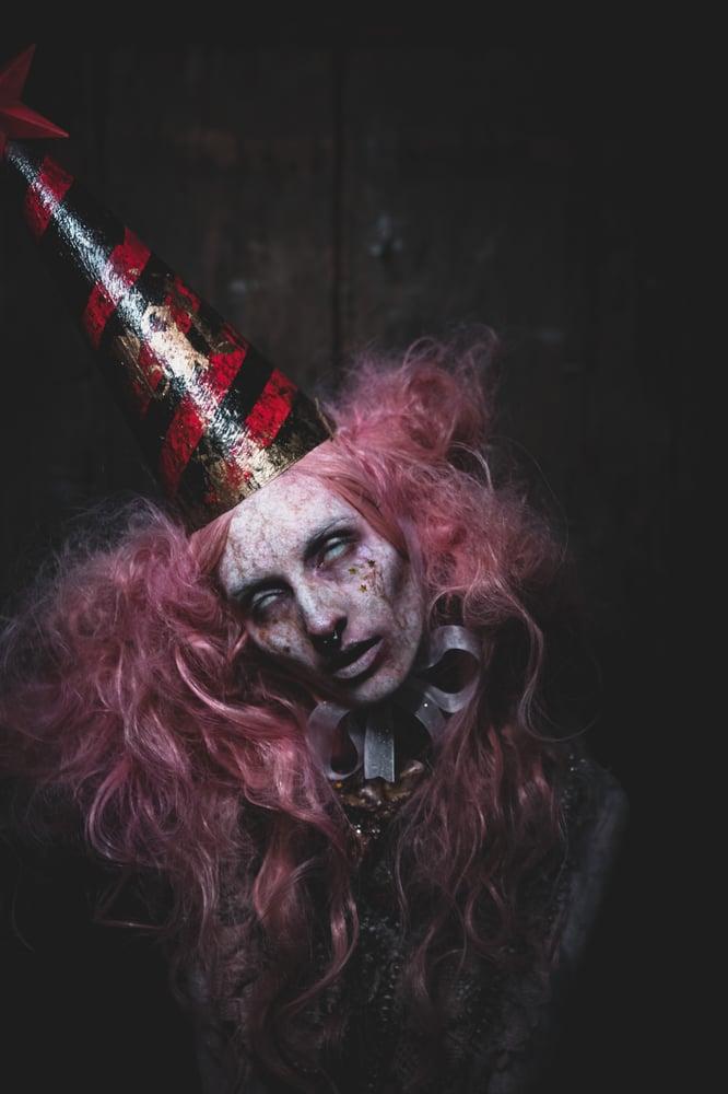 Image of Maniac - Red/black stripe dunce cap