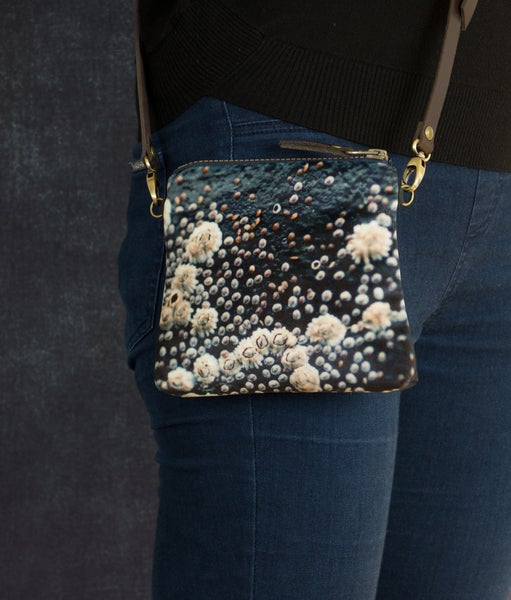 Image of Barnacles, mini velvet shoulder bag with leather crossbody strap
