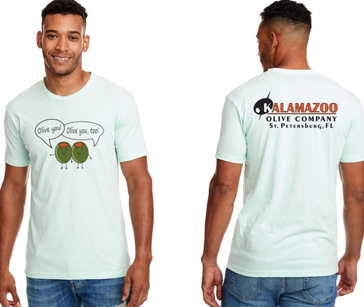 "Kalamazoo Olive ""Olive you"" T-Shirt Mint Green Design 2"