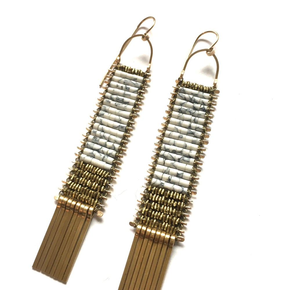Image of White Marble and Gold Tapestry Earrings