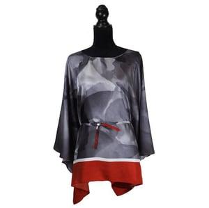 "Image of Silk Twill Top ""Charcoal Petals"""