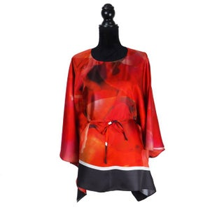 "Image of Silk Twill Top ""Red Peony"""