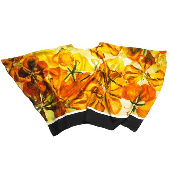 "Image of Silk Twill Top ""Sunset Nasturtium"""