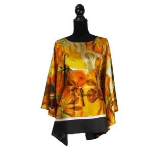 "Image of Silk Twill Top ""Sunset Nasturtium"""